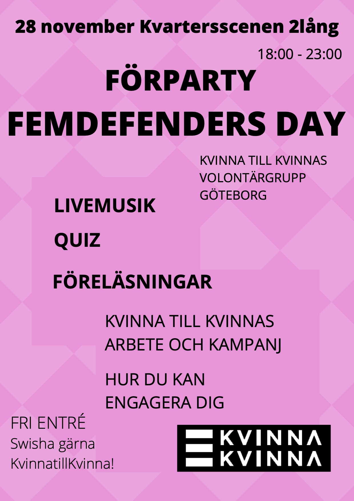 Förparty Femdefenders day
